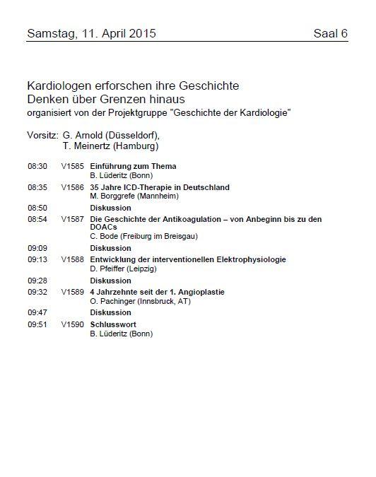 Programmseite, 81. Jahrestagung der Gesellschaft, 8.-11. April 2015, Mannheim